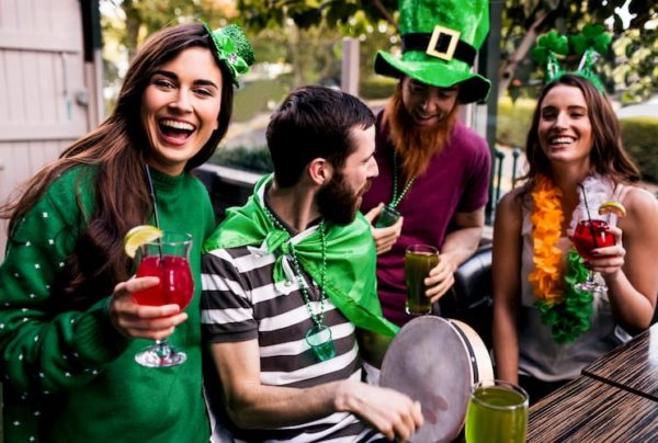 a group of friends at a st.patricks day party