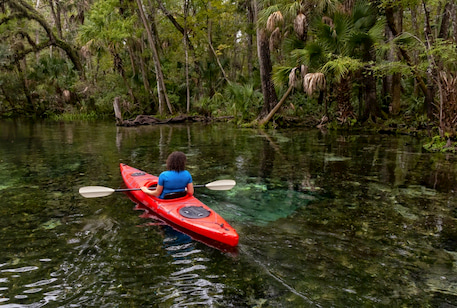 a woman kayaks on clear spring waters at Wekiwa Springs near Orlando Florida