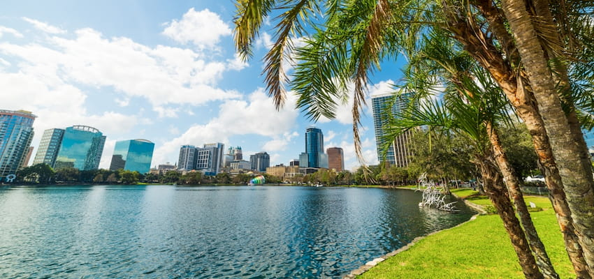 view from the lakeside trail at Lake Eola Park of the downtown Orlando skyline