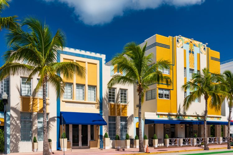 Yellow, blue and white buildings in Art Deco District