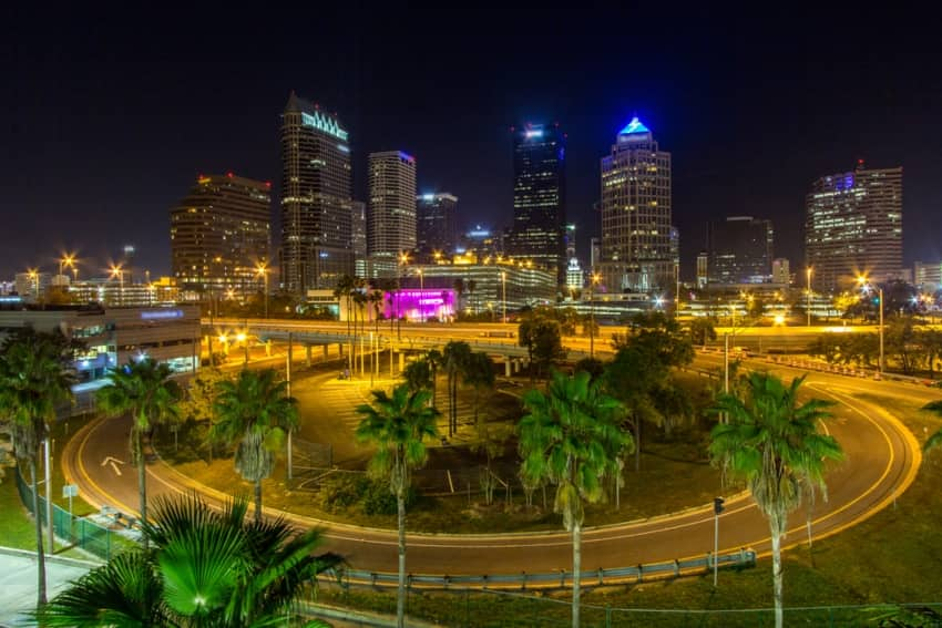 Downtown Tampa decorated with lights at night