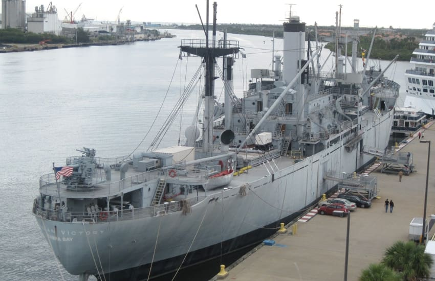 aerial of the SS American Victory docked in Tampa