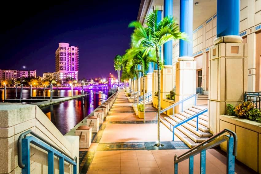 The Tampa Riverwalk at night