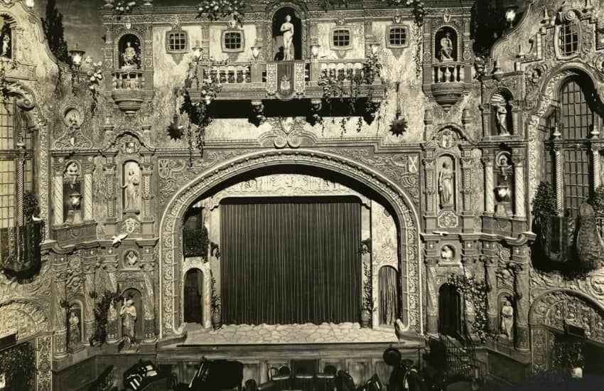 black and white photo of the ornate stage in the Tampa Theatre