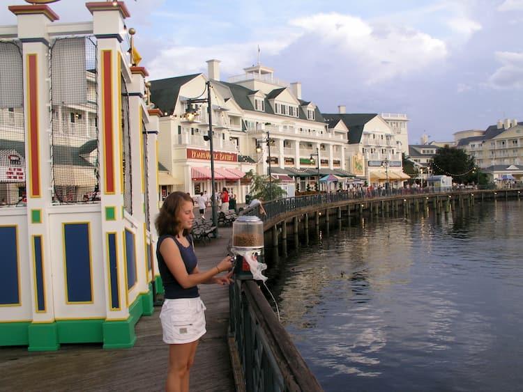 Disney's Boardwalk with restaurants by water