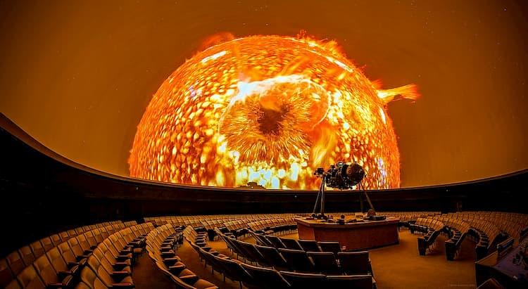 Image of sun during planetarium show at Fernbank Science Center