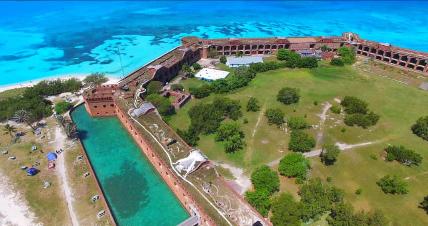 Aerial view of the fort in Dry Tortuga National Park
