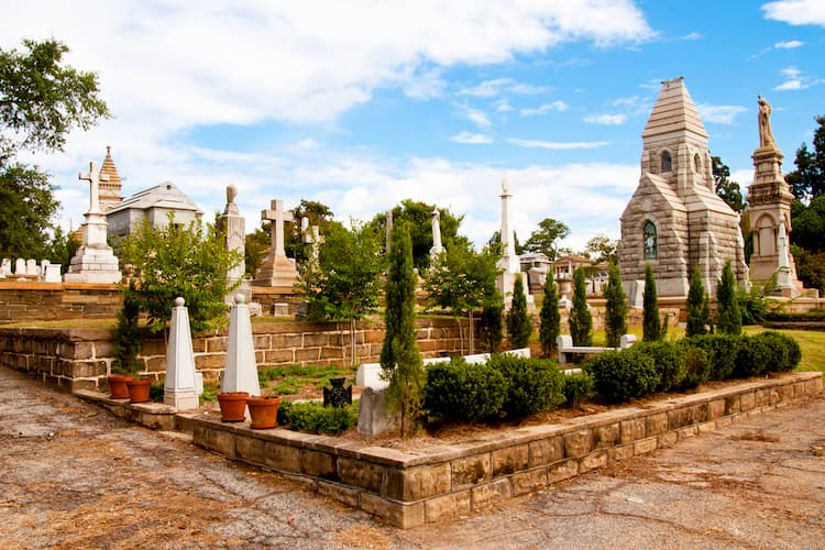 Tombs at Oakland Cemetery in Atlanta