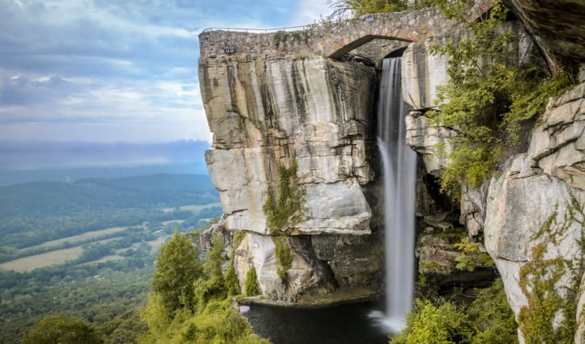 A view of the Lover's Leap waterfall at Rock City