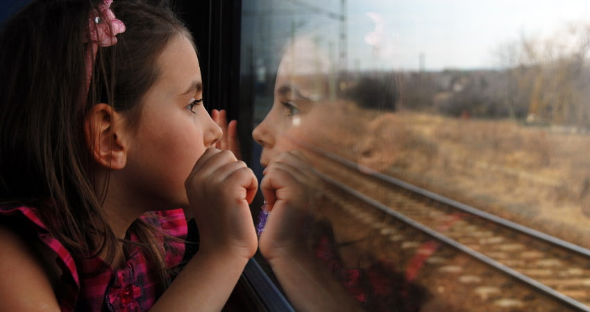 A child watches the landscape roll by from a train window