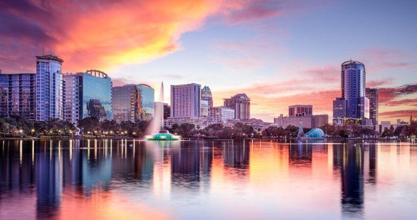 Orlando city skyline at sunset